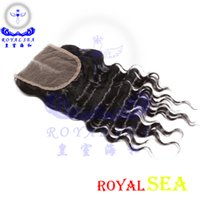 Wholesale Deep Wave Free Closure - Natural black color hair Indian deep Wave Lace Closure Human Hair 4x4 free middle three Part Bleached Knots lace closure