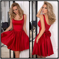 Wholesale Elegant Scooped Back Cocktail Dress - Elegant Red Stain Cocktail Dresses Formal Women Short Party Dress Side Pocket Back Zipper With Bow