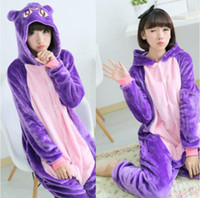 Vivace Purple Gatto Kigurumi Pigiama Cute Animal Costumes Cosplay Outfit Halloween Costume Adulto Guanto Fumetto Jumpsuits Unisex Sleepwear