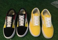 Wholesale Light Weight Cotton Fabric - 2017 new REVENGE x STORM KANYE Old Skool Casual Shoes Sneakers yellow Unisex Slip-On Light Weight Skateboarding Shoes Canvas 2 color