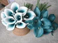 Wholesale Teal Blue Wedding Decorations - 10 Picasso Teal Blue Teal Edge Calla Lilies Real Touch Flowers For Silk Wedding Bouquets Centerpieces Wedding Decorations