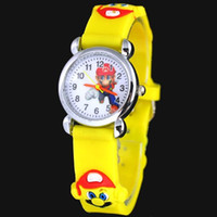 Wholesale Mario Pins - 3D Cartoon Lovely Kids Girls Boys Children Students super Mario Quartz Wrist Watch Very Popular
