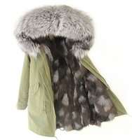 Wholesale Men S Large Jackets - Thick Warm Real Fox Fur Lining for male or female furs Long parkas large raccoon fur collar Man Green jacket