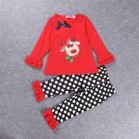 Wholesale Deer Bow Shirt - Girl Christmas winter outfit 2016 Girl Cute deer with bow shirt + ruffle pants 2pcs set children black white polka dot pants Size80-120