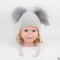 Wholesale Mink Muff - Baby winter hats cute pearl mink fur double ball beanie knited hats for kids girls boys warm fox fur pompon ear cap fit 47-52CM R0336
