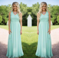 Wholesale New Mint Green Bridesmaid Dress - 2018 New Designer Mint Green Chiffon Bridesmaid Dresses V Neck Lace Applique Maid of Honor Dresses Wedding Party Dresses Custom Made