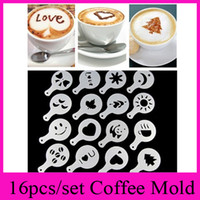 Coffee Filter Baskets spray printing machine - 16pcs set Coffee Machine Coffee Tool Mold Coffee Art Barista Stencils Template Strew Pad Duster Spray Print Mold Coffee Health Tools