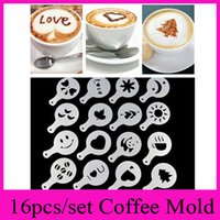 Wholesale Coffee Stencils - 16pcs set Coffee Machine Coffee Tool Mold Coffee Art Barista Stencils Template Strew Pad Duster Spray Print Mold Coffee Health Tools