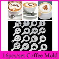 Wholesale Stencil Machine Wholesale - 16pcs set Coffee Machine Coffee Tool Mold Coffee Art Barista Stencils Template Strew Pad Duster Spray Print Mold Coffee Health Tools