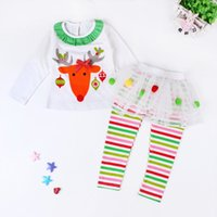 Wholesale Cute Winter Outfits For Girls - Girls Christmas tutu dress Legging 2pc Sets Deer print T shirt tutu dress striped legging Girls Xmas outfits for 1-5T