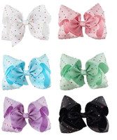 Wholesale Ribbon Covered Hair Clips - 12 Pcs Lot 7 Inch Colorful Rhinestone Covered Ribbon Bows With Clip Girls Hair Clips Hairpin Hair Bow Barrettes Beautiful HuiLin A70