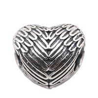 Wholesale wing flats - Angelic Feathers Charms Vintage Angel Wing Heart Charm Beads Authentic 925 Sterling Silver Jewelry Fit DIY Brand Bracelets Jewelry Making