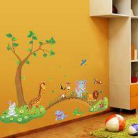 Wholesale 3d Tree For Kids Wall - 3D Cartoon Jungle Wild Animal Tree Bridge Flowers Wall Stickers for Kids Room Living Room Lion Giraffe Elephant Birds Home Decor