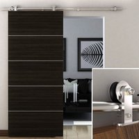 Wholesale Stainless Steel Sliding Barn Hardware - 6.6 FT Modern Stainless Steel Sliding Barn Wood Door Closet Hardware Track Set
