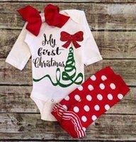 Wholesale Long Sleeve Newborn Girls Bodysuits - 2016 baby girls christmas clothes newborn girls long sleeve romper leggings infant cotton onesies jumpsuit clothing autumn bodysuits