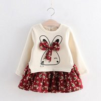 vestidos de inverno com bebé para meninas venda por atacado-Meninas coelho bonito vestidos de inverno outono bebê menina princesa vestido flores impressas meninas vestido de manga comprida