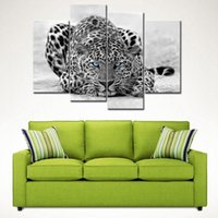 Wholesale Tiger Canvas Art - 4 Picture Combination Black & White 4 Panel Wall Art Painting Blue Eyed Tiger Prints On Canvas The Picture For Home Decoration
