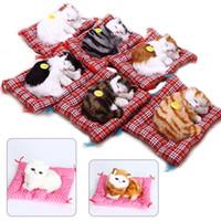 Wholesale sleeping cat plush - Kawaii Simulation Sounding Sleeping Cats 17cm Plush Toy Animal Doll Children's Favorite Birthday Christmas Gift OOA3663