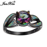 JUNXIN femminile Mystery Rainbow Ring Fashion Style Black Gold Filled Jewelry Anelli di nozze vintage per le donne 2017 regali di Capodanno