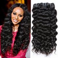 Wholesale Dark Brown Wavy Hair Weft - 100% Original Hair Products 7A Peruvian Virgin Hair Water Wave Wet And Wavy Human Hair Weave 4 Bundles Virgin Brazilian Curly Hair Weave