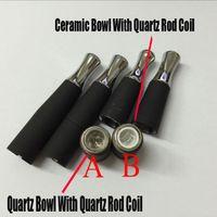 Wholesale Ego Bowl - 2016 skillet wax atomizer double coil skillet quartz Tube Bowl Dual Coil atomizer Ego-M7 D atomizer wax burning Ceramic quartz vaporizer