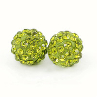Qualidade superior Pave Disco Crystal Ball Beads Clay Rhinestone Shamballa Ball Beads Olivine Size 6mm, 8mm, 10mm, 12mm 100pcs / bag