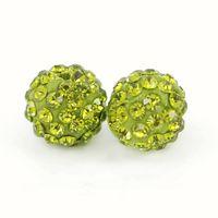 Wholesale Disco Ball Beads 8mm - Top Quality Pave Disco Crystal Ball Beads Clay Rhinestone Shamballa Ball Beads Olivine Size 6mm, 8mm,10mm,12mm 100pcs bag