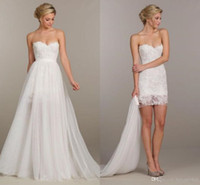 Wholesale Empire Wedding Dress Convertible - 2016 Summer Holiday Convertible Short Beach Boho Party Wedding Dresses Two Pieces Detachable Overskirt Cheap Lace Wedding Gown