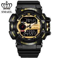 Wholesale Diving Men S Watch - SMAEL Dual Display Watch Men Women Quartz Watches montre LED Digital Dive Navy Army S-Shock Sport Watch Relogio Masculino