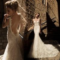 UK palace wedding dress - Mermaid Vintage Wedding Dresses Luxury Palace Lace Material Sexy V Neck Beading Hollow Back Court Train Bridal Gowns