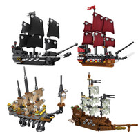 Wholesale Toy Black Pearl Ship - 4pcs lot Lepin 03058 Movie Series Pirate Ship 4 in 1 Black Pearl Queen Anne's Reveage Ship Model Building Blocks Bricks Toys 1117pcs