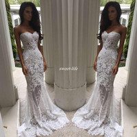 Wholesale Backless Sweetheart Sheath Wedding Dress - Romantic Boho White Mermaid Wedding Dresses Heavy Embellishment Bridal Dress Full Lace Applique Backless Illusion Bodice Wedding Gowns 2017