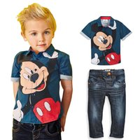 Wholesale Tops Jeans For Girls - Mickey Sets For Baby Boys Clothes Summer Minnie Mouse Suits Kids Short Sleeve Cartoon Shirts Tops+Jeans Trousers 2PCS Tracksuit Outfits