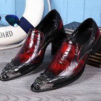 Wholesale metal rivet shoes - Luxury Mens Business Leisure Dress Shoes British Designer Metal Toe Charm Slip On Leather Shoes For Mens Black Red 38-46