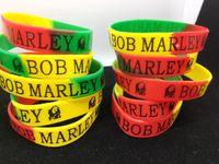 joyería de bob al por mayor-100 unids / lote Para Mujer Para Hombre Bob Marley Silicona Muñequera Pulsera Elástica Popular Joyería Del Manguito