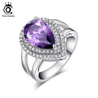 Wholesale Zircon Drop - Big Luxury Water Drop 6 ct Amethyst Zircon Ring 3 Prong Setting with Mirco CZ Stone Around 925 Sterling Silver Ring OR36