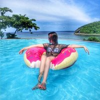 Wholesale Life Float Ring - Wholesale new Donut Swimming Float Inflatable Swimming Ring 60cm Swimming pool for children Life buoy Beach Toys Summer toys