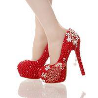 bons eventos venda por atacado-Red Pérola Noiva Sapatos de Festa de Casamento Lindo Cristal Phoenix Partido Prom Sapatos De Salto Alto Evento de Baile Bombas Artesanais Sapatos de Boa Qualidade