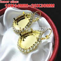 Wholesale Earring Leverback - 10x14MM 13X18MM 18X25MM 20X30MM Water Drop Leverback Earrings Blank Base Silver Gold Pleated Fit Pear Crystal Fancy Stone