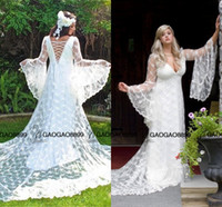 Wholesale sexy beach wedding dresses free for sale - Group buy Custom Made Vintage Victorian Medieval Style Puffy Long Sleeves Lace A line Wedding Dress Gothic bobo Bridal Gown
