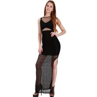 Wholesale Sheer Ankle Length Robe - Sexy Black Sleeveless Splits Dress Women Summer Transparent Mesh Hollow Out Lace Patchwork Backless Sexy Club Robe Vestidos XXL WB009119