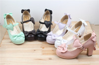 Wholesale Sweet Lolita Shoes - Wholesale-The new high-heeled cute bow tie sweet lolita girls love solid round princess shoes more softer