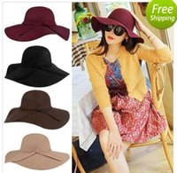 Wholesale wool felt fascinator - Fascinator Hats Floppy Hats For Women Sun Beach Bowknot Hats Cap Lady Wide Brim Wool Felt Bowler Fedora Hat Floppy Hats For Women Hats