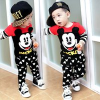 Wholesale Korean Boys Hot - 2016 hot sale Kids Clothing sets Mickey Mouse baby boy cartoon clothes children Korean style Spring autumn clothes suit