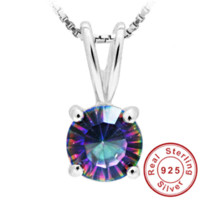 Wholesale Mystical Pendants - Concave Round Genuine Mystical Fire Rainbow Topaz Pendant Solid 925 Sterling Silver Hot Sale Promotion Vintage Jewelry For Women
