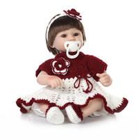 Wholesale Knitted Toys Handmade - Wholesale- NPK 42CM Lifelike girl doll reborn handmade knitting clothes magnetic mouth best children gift bebe toys