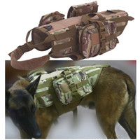Wholesale Dog Tactical Vest - Outdoor Camouflage Plate Carrier Dog Clothes Load Jacket Gear Vest Tactical Dog Training Molle Vest with Pouches NO06-204