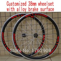 Wholesale 38mm Carbon Clincher Rims - New customized 700C 38mm clincher rim Road bicycle 3K UD 12K carbon fibre bike wheelsets with alloy brake surface Free shipping