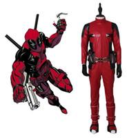 traje de látex de corpo inteiro venda por atacado-Adulto de alta qualidade Deadpool Wilson traje cosplay de couro corpo inteiro Trajes de Halloween para homens Superhero traje Deadpool