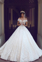 Wholesale Short Ruched - 2017 New Vintage Lace Wedding Dresses Sexy Off the Shoulder Short Sleeves Applique Sweep Train A Line Wedding Bridal Gowns Custom Made